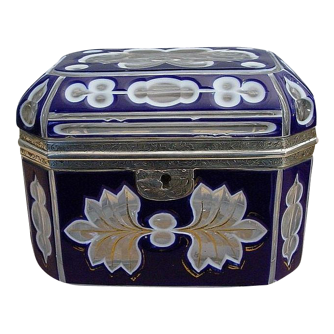 """Antique  Bohemian Cobalt and White Cut to Clear Casket """"FAB Silver Mounts"""""""