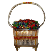 "Czech Glass Fruit Basket  ""RAREST SHAPE"""