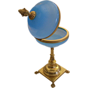 "Magnificent  Antique Blue Opaline Casket "" Pedestal Base & Paw Feet"""