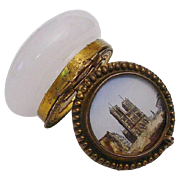 "Rare Grand Tour White Opaline Hinged Box.  ""Eglomise"""