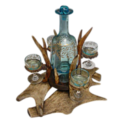 "Magnificent Antique Antler Liquor  Set ""FAB Blue Glass"""