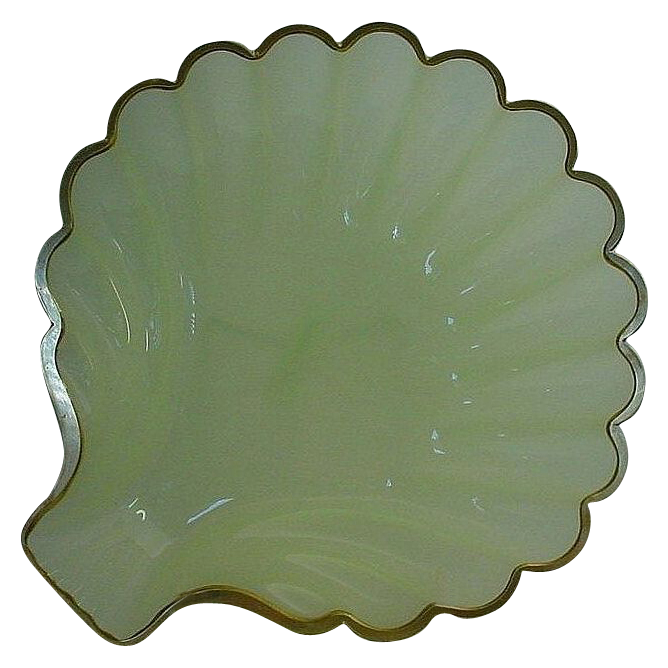 """Awesome Antique  French Green Opaline Shell Shape Bowl""""BIG"""""""