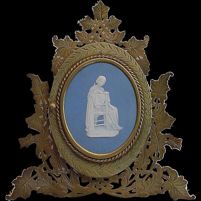 Very Fine  Rare Bronze Blue Jasperware Easel Back Frame