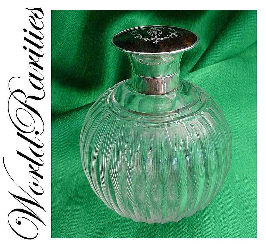 Gorgeous  Antique Crystal and Tortoise Scent Bottle