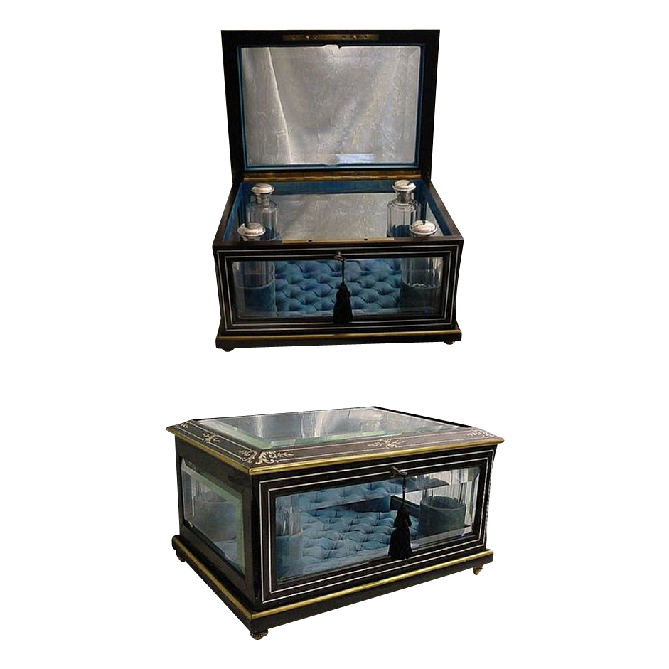 """Exquisite  French Large Ebony Jewelry Scent Casket  """"BIG"""""""