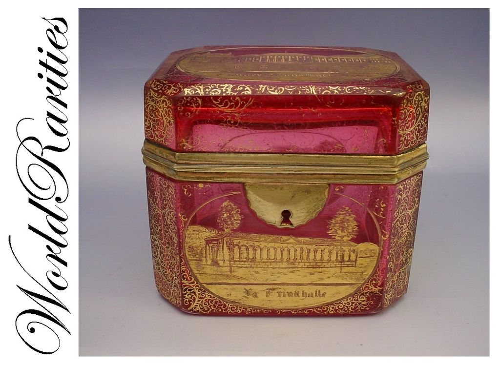 Antique Bohemian Cranberry Spa  Casket Hinged Box