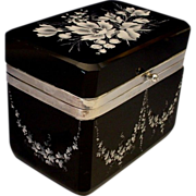 "VF Moser Black Amethyst Casket Hinged Box ""Extraordinary White Enamel Flowers"""
