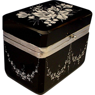 "VF Moser Black Amethyst Casket Hinged Box ""Extraordinary White Enamel Flowers"""
