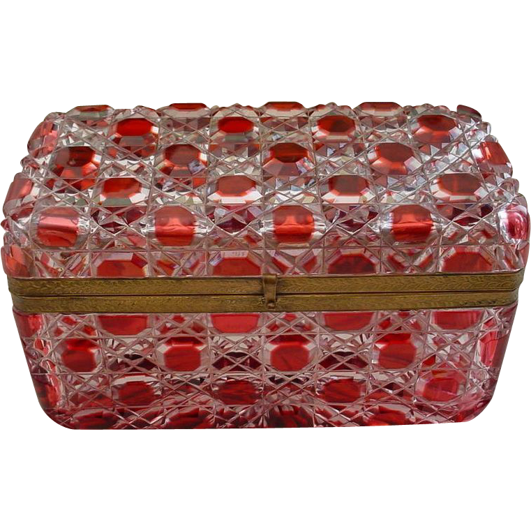 """8"""" Glorious  Antique  Baccarat  Red Cut to Clear Casket Hinged Box """" BIG"""""""