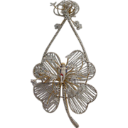 Victorian White Beaded   Winged Putti Wall Arrangement