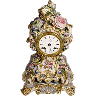 "Very Fine RARE Antique 12"" Jacob Petit Porcelain Flower Clock"