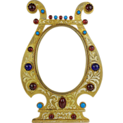 "9 ½"" Antique Austrian Bronze Jeweled Enamel Table Top Frame"