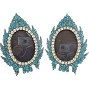 "Antique French Jeweled Turquoise Table  Frames  "" BIG PASTE GEMS"""