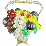 "1920 Czech Glass Fruit Lamp Basket ""Overflowing with Glass Fruit"""