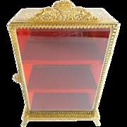 """Vintage Miniature Brass Vitrine  """"Ornate Foot Base"""""""