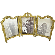 Antique French Gilt Bronze Triple Frame