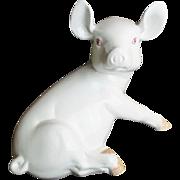 Estate Vintage Italian Porcelain Pink Eyed Pig