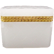 "Antique French White Opaline Diamond Cut Casket Hinged Box ""SPECTACULAR"""