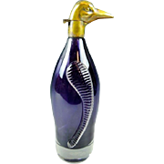 "10 ½"" Antique Austrian Amethyst Penguin Decanter"
