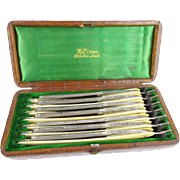 Antique Seven Day Set of Wilkinson Straight Razors in Original Alligator Box