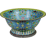"Gorgeous 19C  15 "" Chinese Cloisonné Footed Bowl"