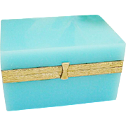 "Antique Blue Opaline Casket Hinged Box ""GREAT COLOR'"