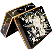 "Antique Bohemian Black Opaline Casket Hinged Box "" DIVINE WHITE FLOWERS"""
