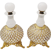 "Antique French White Opaline Scents Bottles  ""A PAIR ""Exquisite Footed Base"