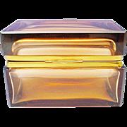 Vintage Murano Amber Hinged Box
