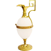 "Palais Royal White Opaline Egg Shaped Hinged Box ""EWER SHAPE"""