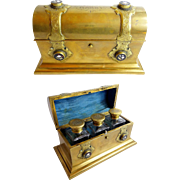"Antique English Bronze and Petra Dura Scent Casket ""3 BIG SCENT BOTTLES"""