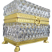 """Antique French Cut Crystal Paw Foot Casket Hinged Box """"KILLER BOX"""""""