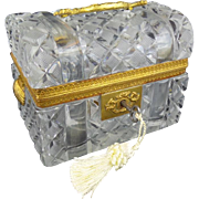 """Antique French Crystal Dome Top Trunk Casket Hinged Box """"DOUBLE SHELL HANDLES"""""""