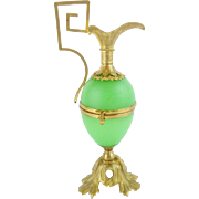 "Palais Royal Green Egg Shaped Hinged Box ""EWER SHAPE""  RARE Green Opaline"
