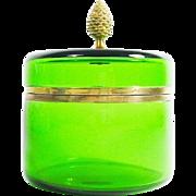BIG Vintage ITALIAN Green Glass Hinged Box