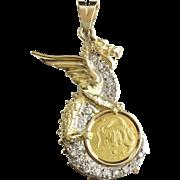 "YELLOW GOLD REPUBLIC OF SINGAPORE 1988 DRAGON GOLD COIN  ""DIAMOND MOUNTING BEZEL"""