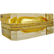 Vintage Italian Murano Yellow Etched Hinged Box
