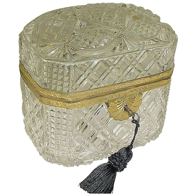 Fabulous Antique French Dome Top Cut Crystal Casket