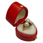 Pretty 10 Karat Pearl and Enamel Ring