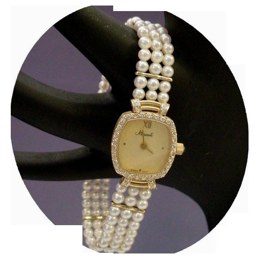 Magnificent Estate Vintage 14 Karat Pearl and Diamond Watch