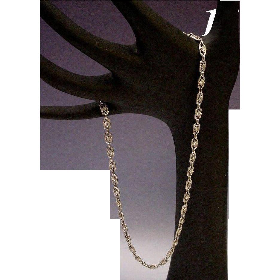 """LAYAWAY  14Karat White Gold Diamond Filagree 15"""" Necklace"""