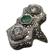 Beautiful Antique 14 Karat  Diamond and Emerald Filigree Ring