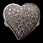 "Estate 14Karat White Gold Large Pave Diamond Ring  ""HEART SHAPE"""