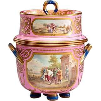"Glorious Antique English Porcelain Ice Cream Jar ""Luscious Pink"""