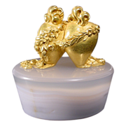 Antique French Agate and Gilt Wax Stamp
