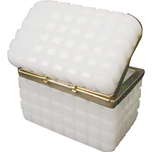 "Exquisite Antique French White Opaline ""Waffle Cut"" Casket Hinged Box"