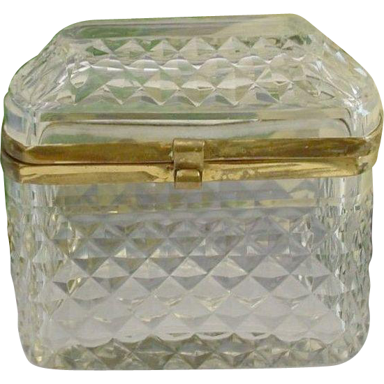 Lovely Antique French Cut Crystal Dome Top Hinged Box