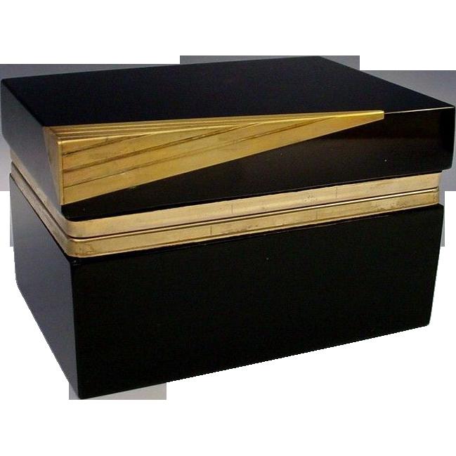 Fabulous Murano Black Glass Hinged Box