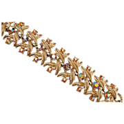 Coro Gold Tone and AB rhinestone Bracelet