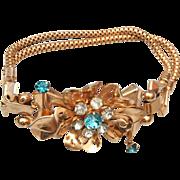 Coro With Pegasus Aqua Rhinestone Bracelet